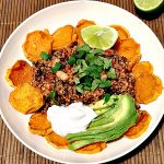 Quinoa Con Carne with Sweet Potato Chips