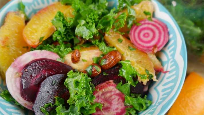 Beetroot salad completed in a blue bowl