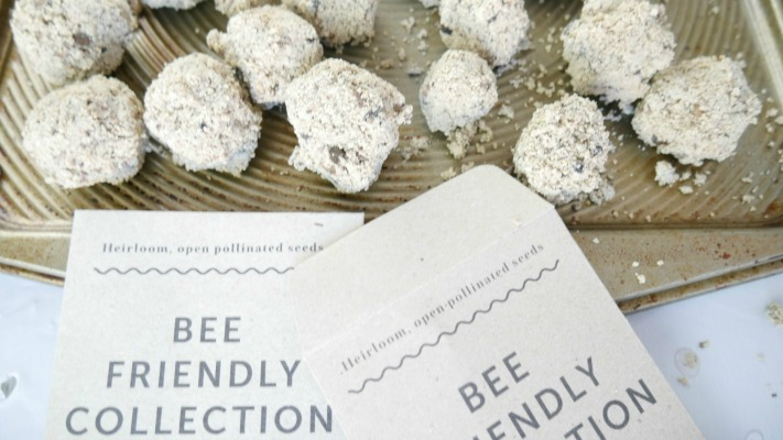 bee friendly seed packet with seed balls