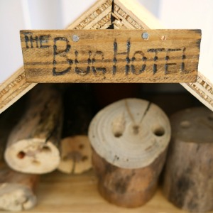 Insect Hotel with the Sign Bug Hotel