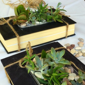 succulent garden 2 book planters side view