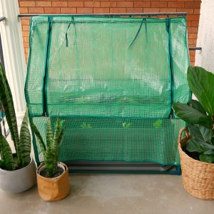 The Balcony Garden - greenhouse zipped down