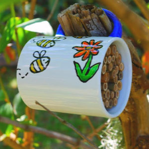 Mug bug hotel hanging in tree