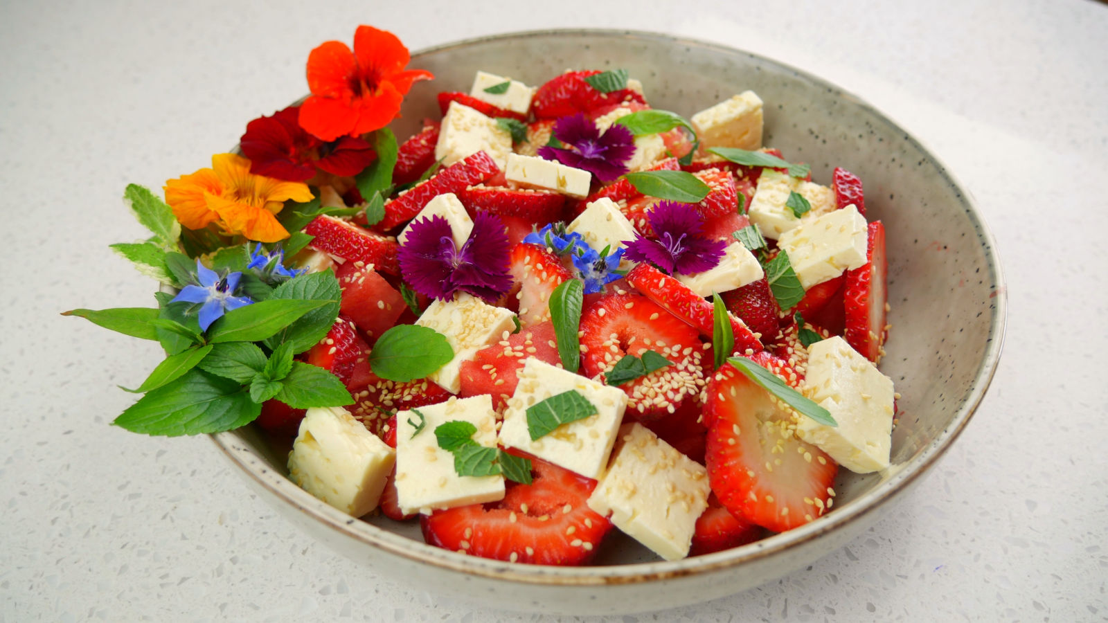 Sweet & Salty Watermelon Salad (with edible flowers)
